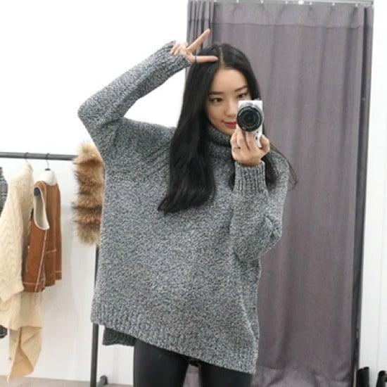 ホワイト・フォックス・ストーンタートルネックニット ニット/セーター/タートルネック/ポーラーニット/韓国ファッション