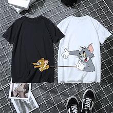 人気トムとジェリー 半袖 tシャツ ゆったり トップス カジュアル プリント 韓国 ファッション 可愛い 夏 カットソー レディース メンズ カジュアル フィット感 綿100