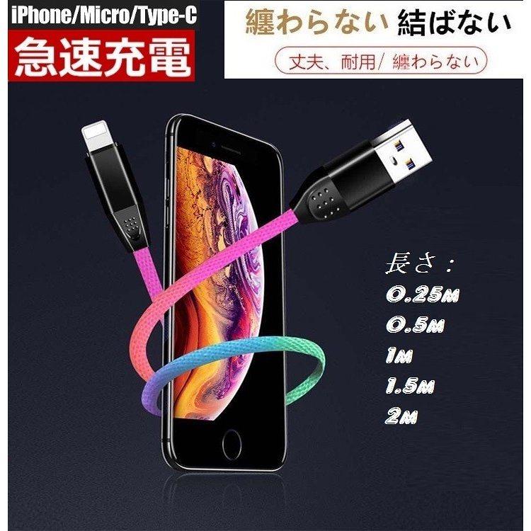 iPhone Type-C Micro USB 充電ケーブル 充電器 スマホ モバイルバッテリー 長さ:0.25/0.5/1/1.5/2m 断線防止 急速充電 コード 高耐久