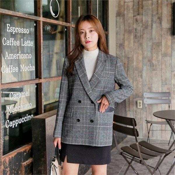 チルジュチェックジャケットnew 女性のジャケット / 韓国ファッション/ジャケット/秋冬/レディース/ハーフ/ロング/