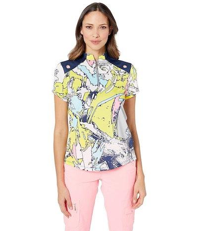 ジャイミーサドック レディース シャツ トップス Tsunami Print Short Sleeve Top