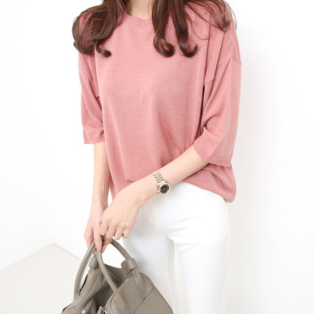 [Deming] 7 colors knit loose fit knit 5 color knit short sleeves knit pastel knit linen knit loose c