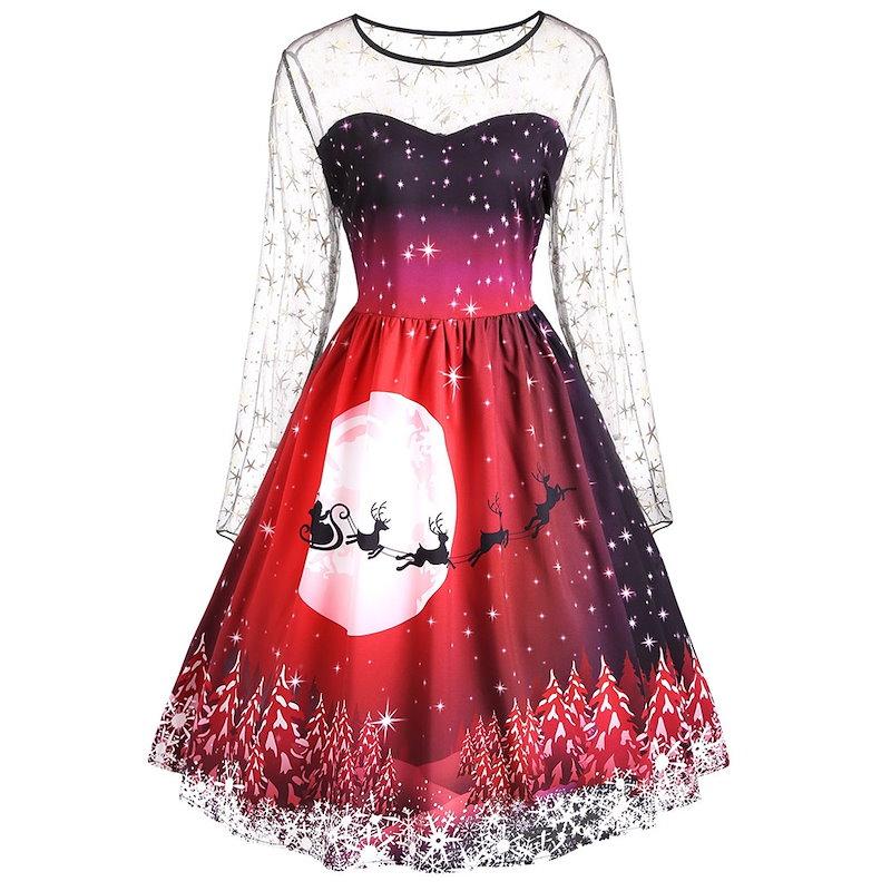クリスマスプラスサイズプリントメッシュインサートドレス