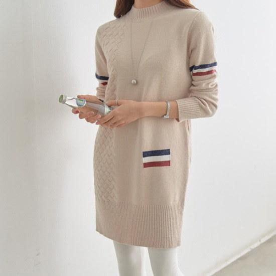 ピピントゥエイッ三色ポイントロングニット・ワンピース35013 ニット・ワンピース/ 韓国ファッション
