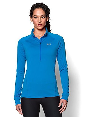 Under Armour Womens Tech 1/2 Zip Shirt, Jazz Blue/Metallic Silver, Medium
