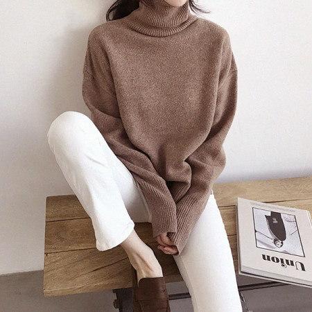 ・テーブルウールポーラニットKorean fashion style