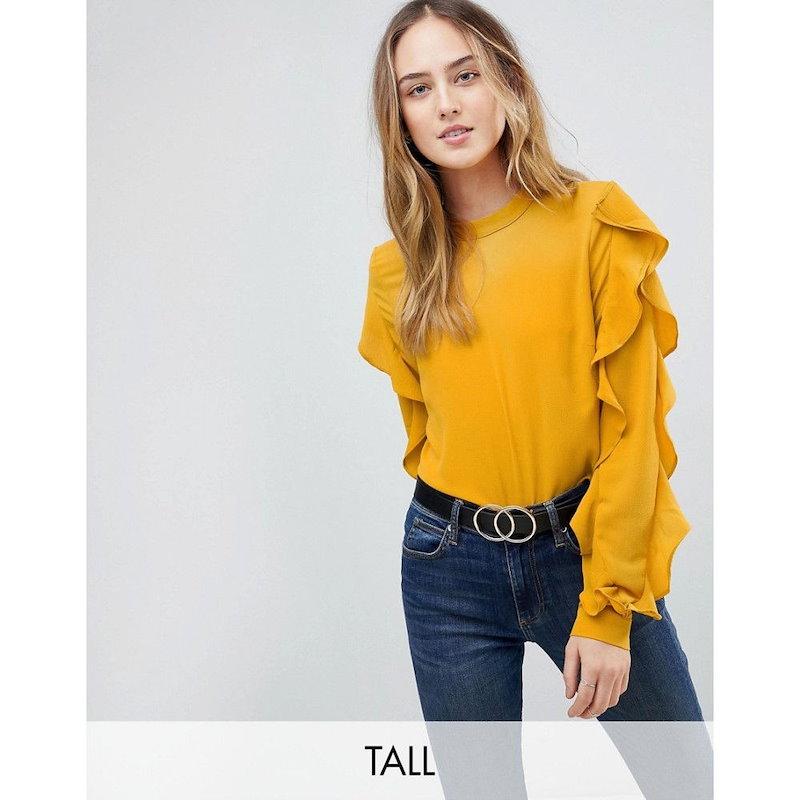 ワイ エー エス レディース トップス ブラウス・シャツ【Y.A.S Tall Sufia Ruffle Side Blouse】Ye yellow