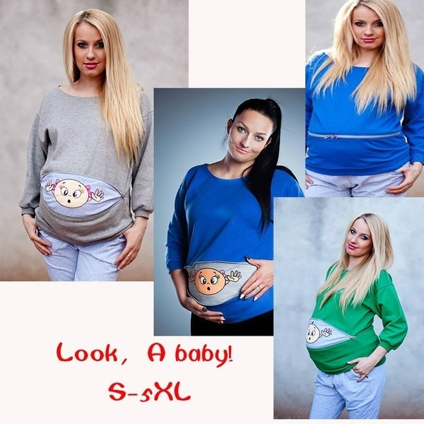 Fashion Long Sleeve Baby Casual Mama Pregnant Maternity Pregnancy Sweater Tops