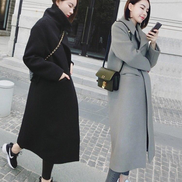 秋冬のコートにラシャの長いセクションを「ひざ修身着やせ肥厚ラシャコート