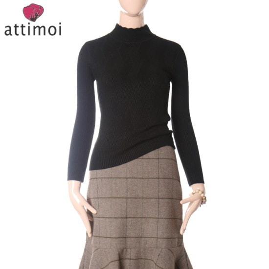 アティムア櫛目文フラワーのポーラー・ニットATA740009 ニット/セーター/タートルネック/ポーラーニット/韓国ファッション
