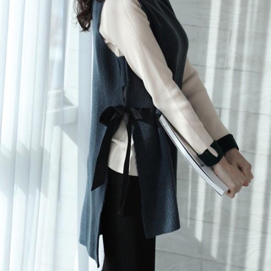 【ココアベニュー】リボンロングニットベスト_80102 ベセチュウ / ニット・ベスト/ 韓国ファッション