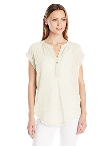 VELVET BY GRAHAM & SPENCER Womens Slub with Contrast Henley Tee, Coconut, Medium