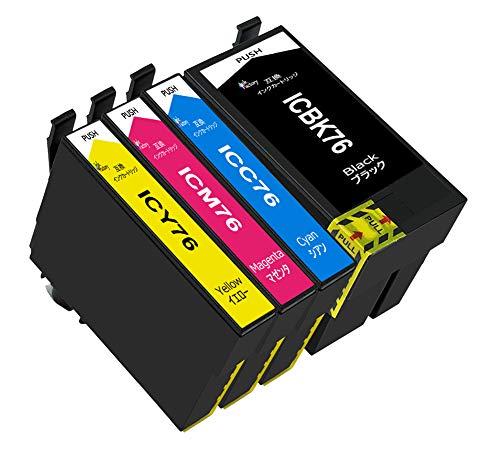 インク工場 EPSON エプソン IC4CL76 (BK/C/M/Y) 互換インク カートリッジ ic76 大容量 4色パック 残量検知機能付 対応機種: PX-M5040F PX-M5041F PX