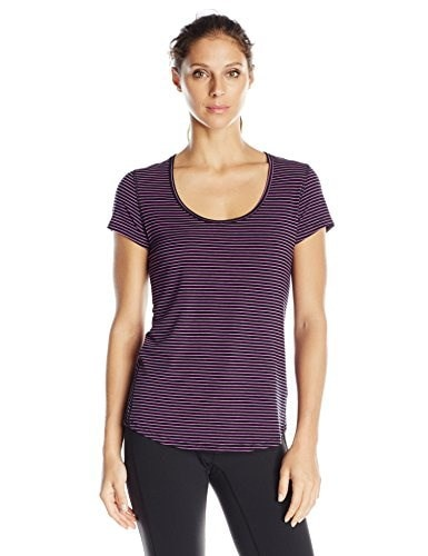 Lucy Womens Short Sleeve Workout Tee, Pink Dawn/Lucy Black Stripe, Small
