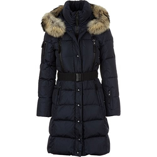 SAM. Womens Infinity Down Coat with Fur Trim Hood and Belt, Navy, Small