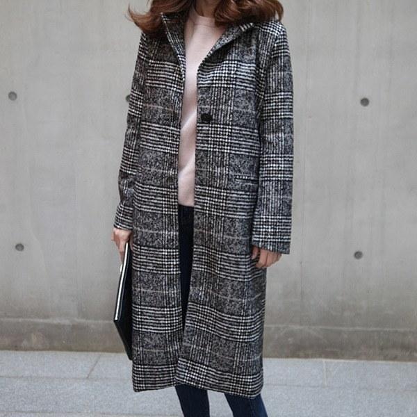 グルレンブラックチェック、ロングコート 女性のコート/ 韓国ファッション/ジャケット/秋冬/レディース/ハーフ/ロング/