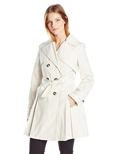 Laundry By Shelli Segal Womens Double Breasted Classic Trench, Vanilla, Medium