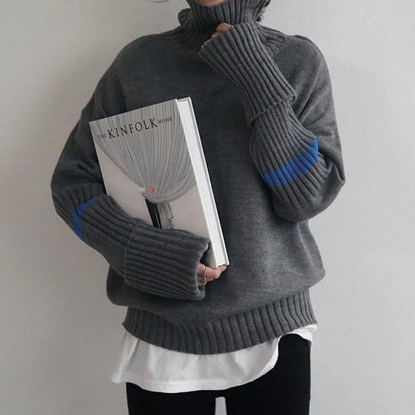 [送料無料]★韓国ファッション通販業界1位 『Naning9』★エルウォン小売配色ニット/ おしゃれなシルエットのファッションコーデー提案!ハイクォリティー/韓国ファッション/オフィスルック/ レディース