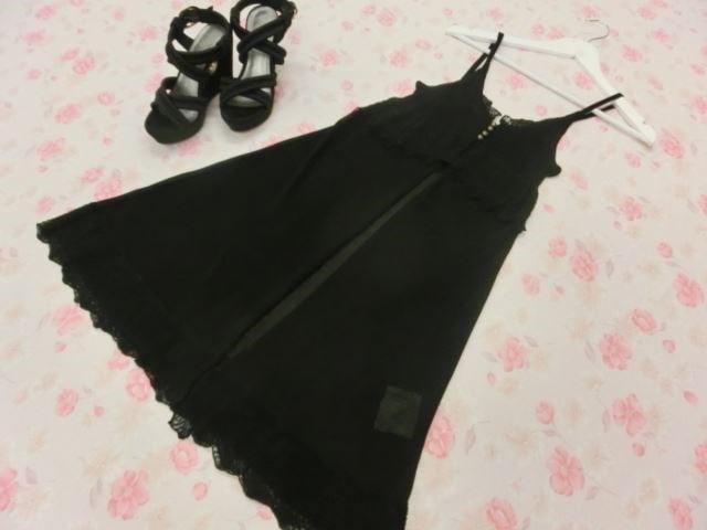 未使用品 PINKY&DIANNE/ピンキー&ダイアン ロング ジレ 38 ブラック【中古】