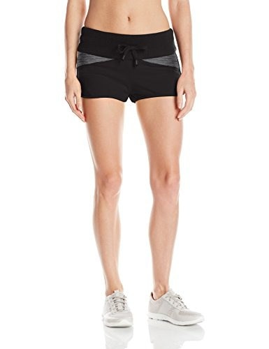 Blanc Noir Womens Moto Jog Short, Black/Black, Large
