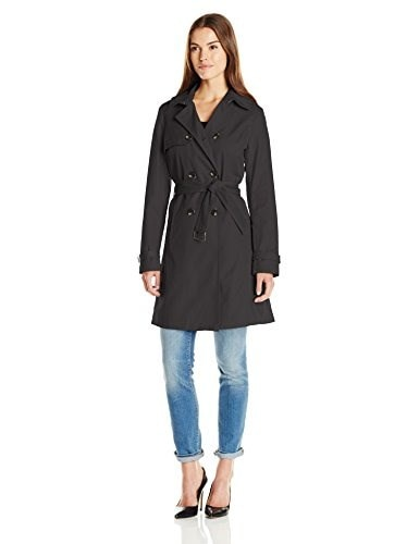 T Tahari Womens Laurie Classic Double Breasted Trench Coat with Lace Detail, Black, Medium