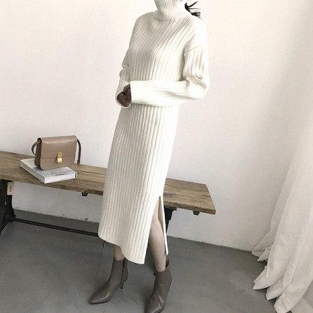 Amber Polo Knit Dress Korean fashion style