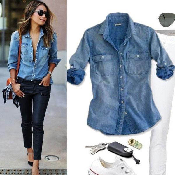 レトロファッション女性のカジュアルなブルージーンデニムロングスリーブシャツのトップスブラウスジャケット