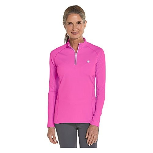 Coolibar UPF 50+ Womens LS Cool Quarter Zip Fitness Pullover UV Clothing (Large - Bright Magenta)