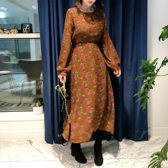 イムブルリimvelyイムブルリローズマリーフラワーワンピース シフォン/レースのワンピース/ 韓国ファッション