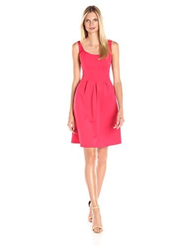 Nine West Women s Nov B/O Topstitch Dress with Pleats, Summer Flame, 16