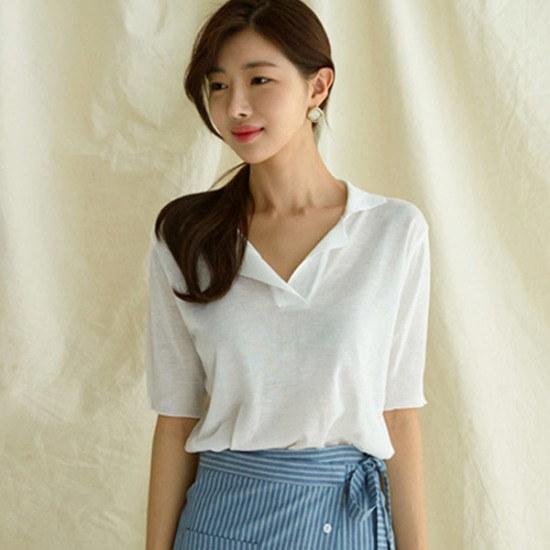 るみさんカラシンプリ半そでニット ニット/セーター/ニット/韓国ファッション