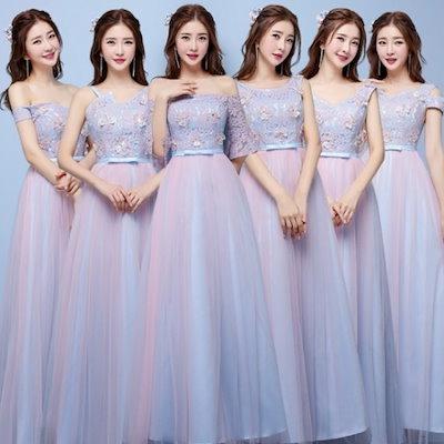 ロングドレス パーティードレス レディース 6タイプ Aライン ロング ブライドメイド ワンピース 結婚式 花嫁 20代 30代 40代 新作