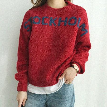 Stockholm round knit Korean fashion style