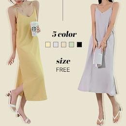 ✨DRESSCAFE✨[韓国ファッション] ♥ Limited item!♥ 5color サテンシルクスリップワンピース