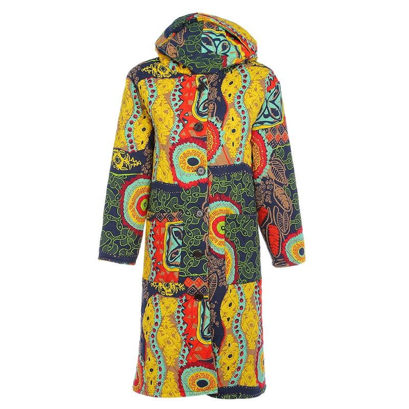 トレンディなフード付き長袖プリントポケットレディースコート