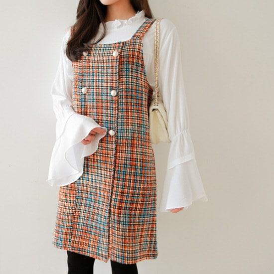 ジェイ・スタイルビックサイズポレスン、晋州チンジュ・ツイードワンピース 綿ワンピース/ 韓国ファッション