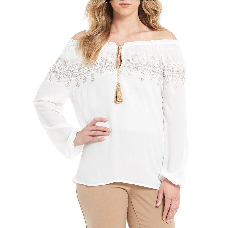 インベストメンツ レディース トップス ブラウス・シャツ【Investments Long Sleeve Embroidered Blouse】White
