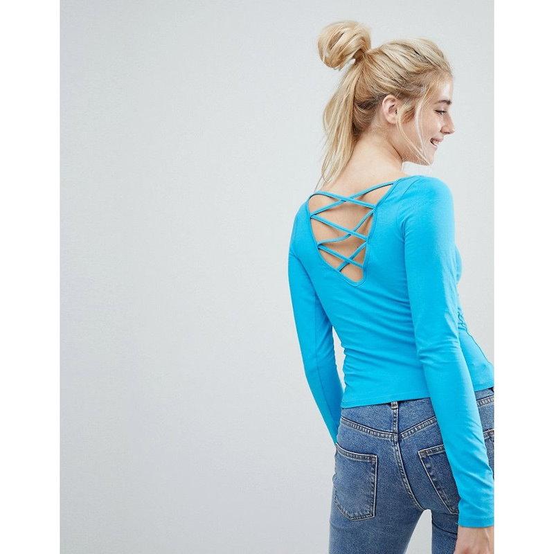 モンキー レディース トップス【Monki Lattice Back Long Sleeve Top】Blue