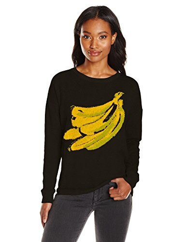 Kensie Womens Soft Cotton Blend Sweater Banana, Black Combo, Small