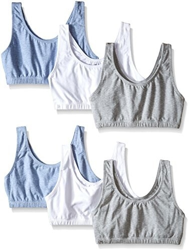 Fruit of the Loom Womens Built-Up Sports Bra, Heather Gray/White/Heather Blue, 38 (Pack of 6)