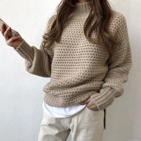 エルリトワッフル半ポーラニットKorean fashion style