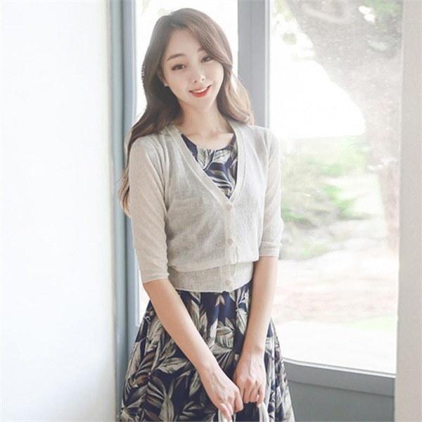 OTI305ベーシック7部小売ミニカディゴンnew 女性ニット/ Vネックニット/韓国ファッション