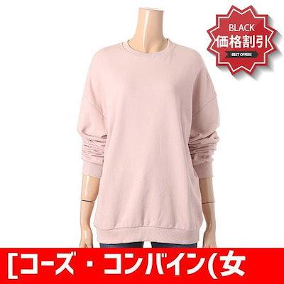 [コーズ・コンバイン(女性)]ピンクマンツーマンティーシャツ(CDA-TS032W3) /フードTシャツ/マンツーマンTシャツ/ Tシャツ/韓国ファッション