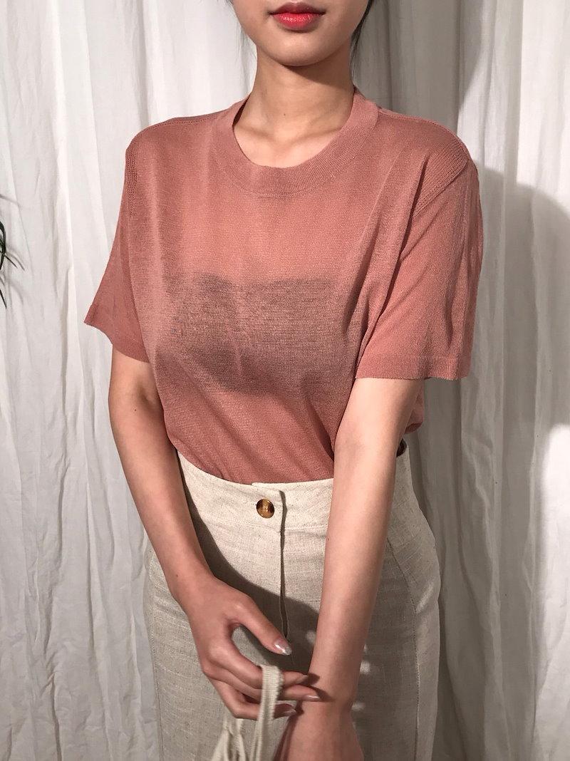 ミューズラウンドシースルーサマーニットkorea fashion style