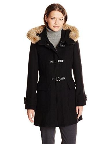 Trina Turk Womens Bailey Toggle Wool Coat, Black, 10