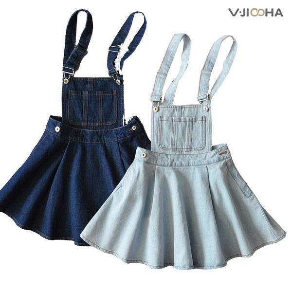 vintage retro denim overall dungaree pinafore tunic dress denim sundress