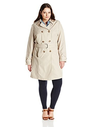 T Tahari Womens Plus-Size Laurie Double Breasted Trench Coat with Lace Detail, Sand, 2X