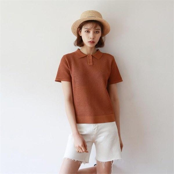 デイリー・マンデーMesh summer collar knitニートnew 女性ニット/ラウンドニット/韓国ファッション