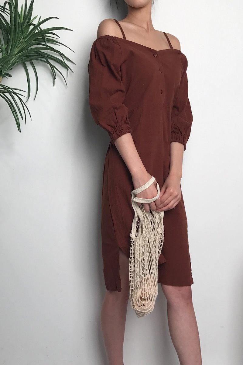 イブニングショルダーストラップオフショルダーワンピースkorea fashion style
