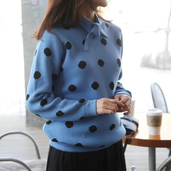 リボンの束・ドット・ニットnew 女性ニット/ラウンドニット/韓国ファッション